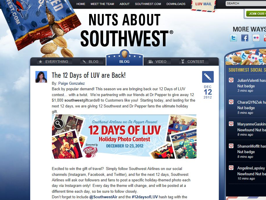 Southwest Airlines and Dr Pepper/Seven Up Inc. 12 Days of LUV Sweepstakes