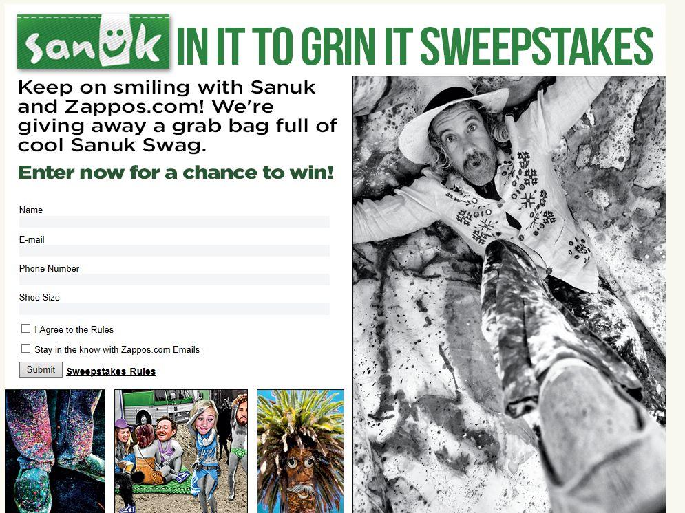 Zappos Sanuk Prize Pack Sweepstakes
