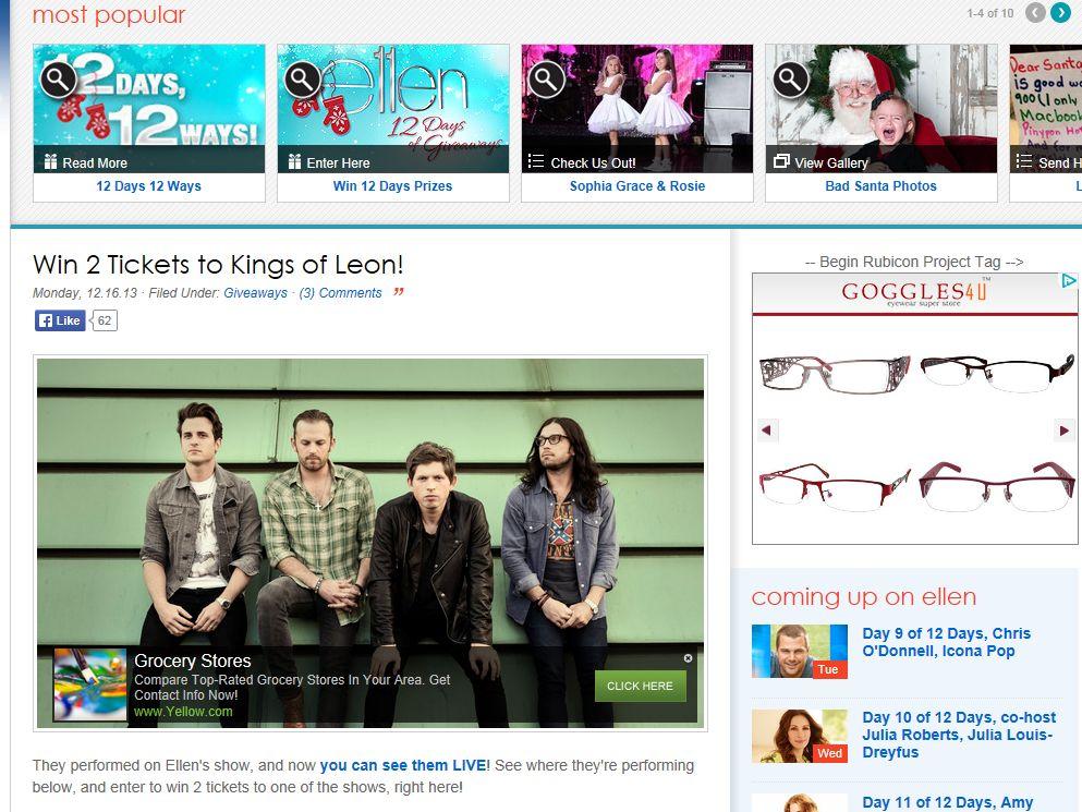 Ellen TV Kings of Leon Sweepstakes