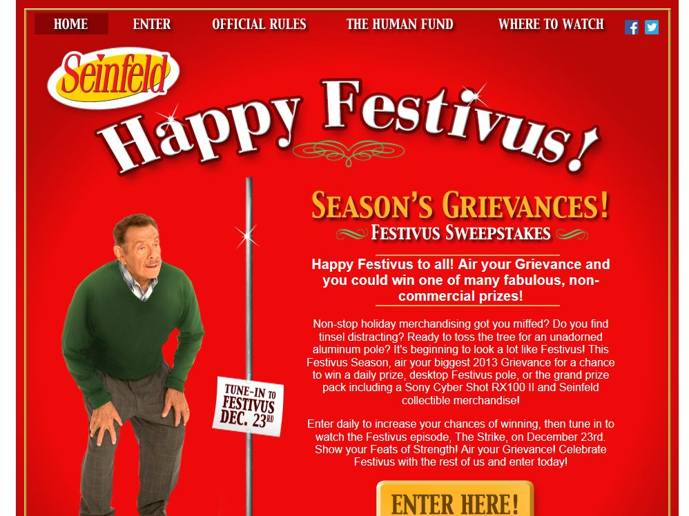 Sony Pictures Television: Seinfeld Festivus Sweepstakes