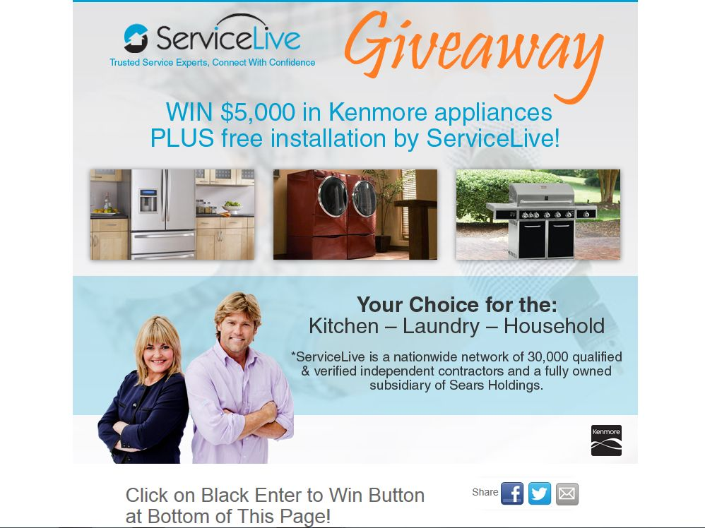 ServiceLive $5K Kenmore Appliance Giveaway