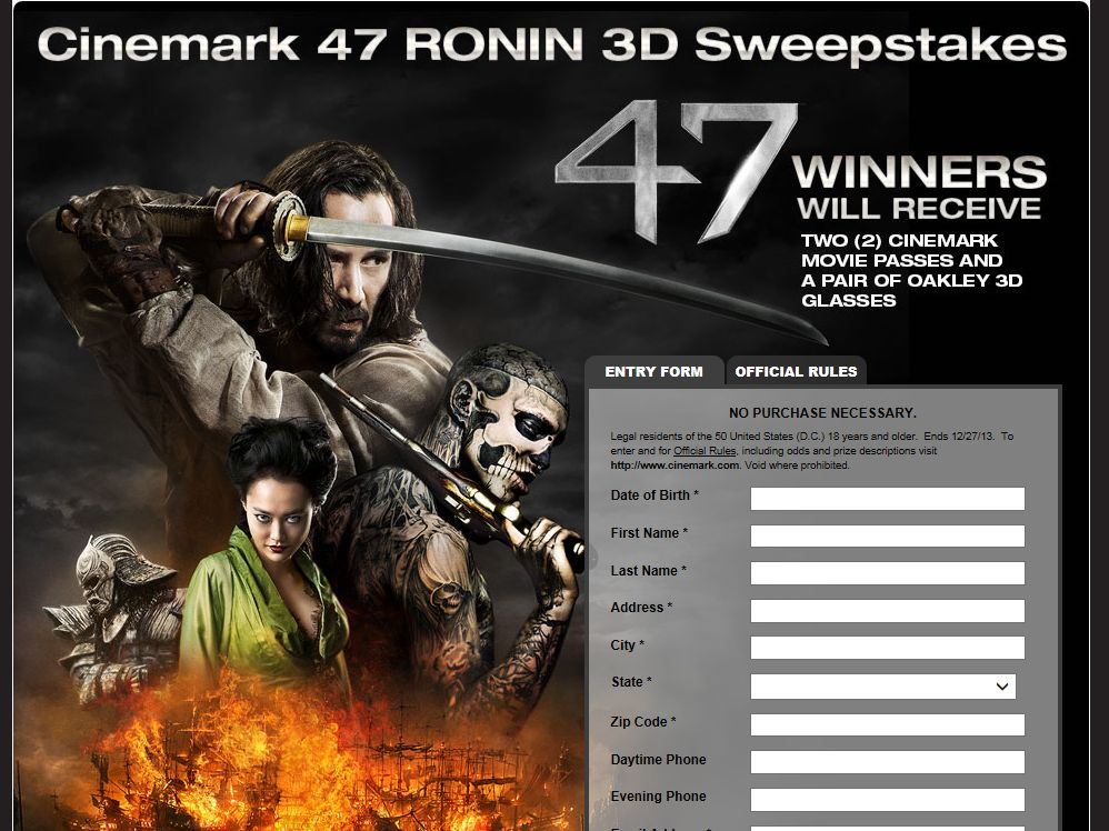 Cinemark 47 Ronin 3D Sweepstakes