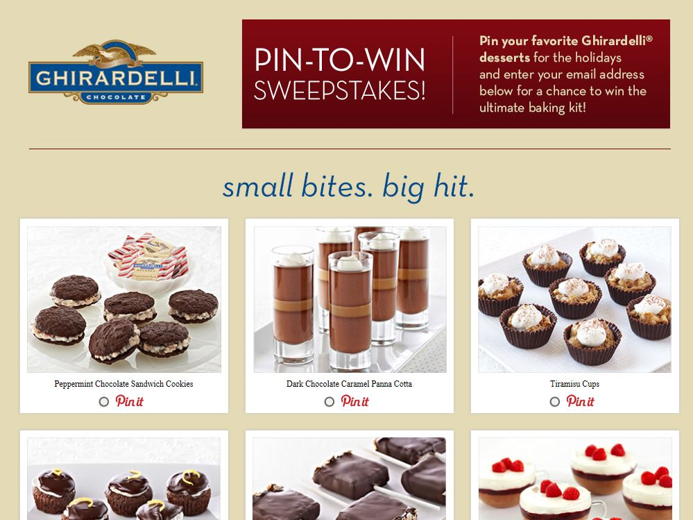 Ghirardelli Small Bites. Big Hit. Sweepstakes