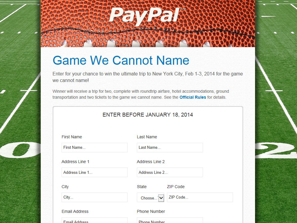 "PayPal ""Game we Cannot Name"" Sweepstakes"