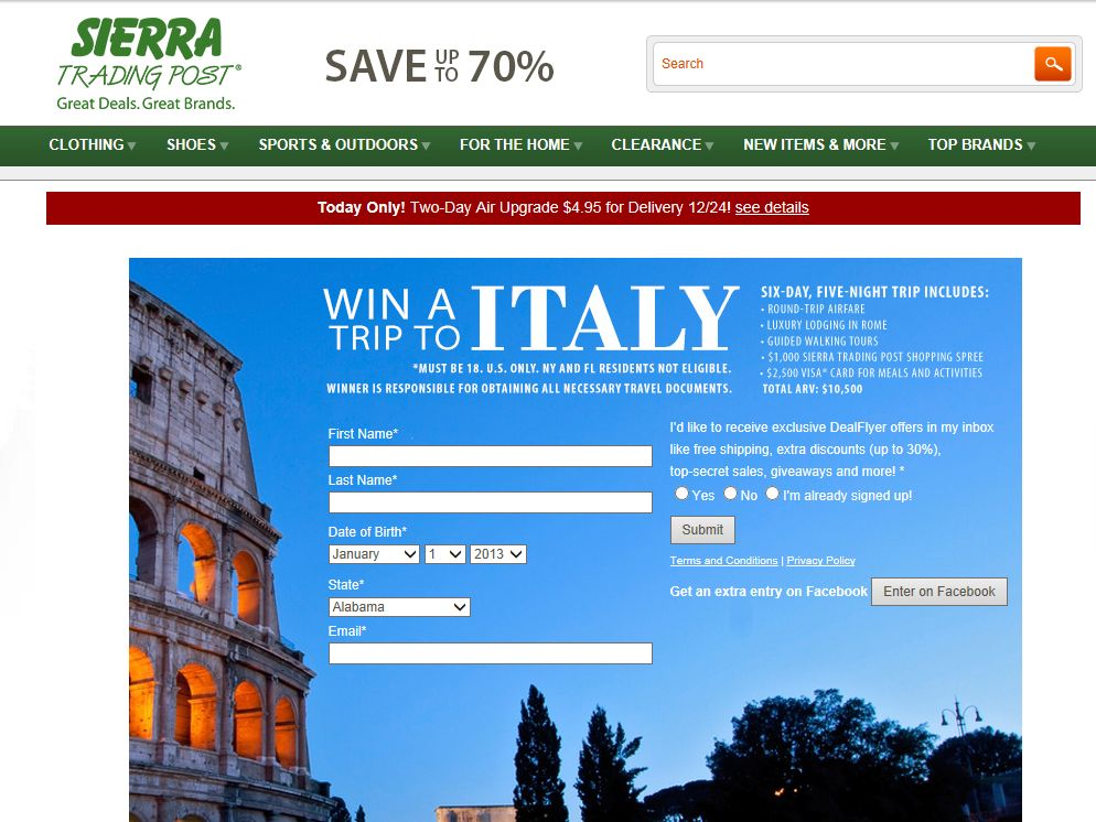 Sierra Trading Post Rome, Italy Trip Sweepstakes