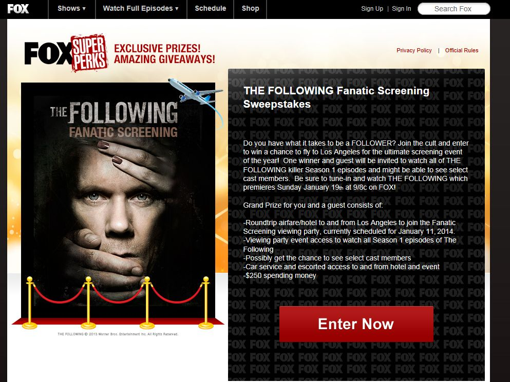 THE FOLLOWING Fanatic Screening Sweepstakes