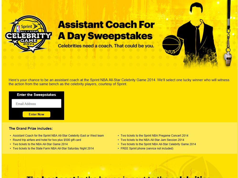 Sprint Assistant Coach For A Day Sweepstakes