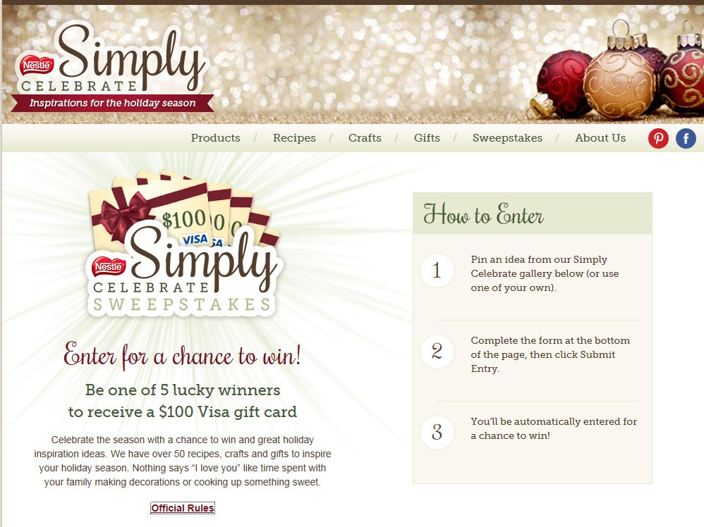 Nestlé Confections Pinterest Holiday Sweepstakes