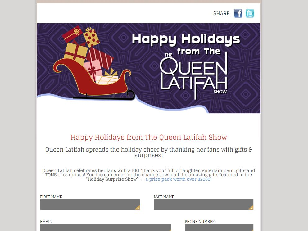 The Queen Latifah Show Happy Holidays Giveaway Sweepstakes