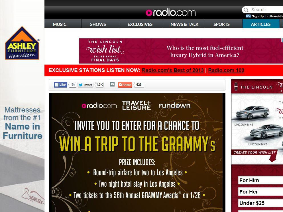 Ultimate Trip to The 56th Annual GRAMMY Awards Sweepstakes
