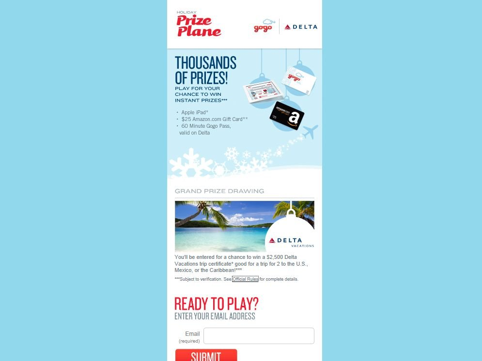 Gogo Holiday Prize Plane Instant Win Game & Sweepstakes