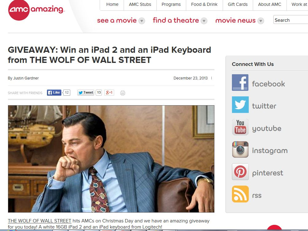 """AMC """"THE WOLF OF WALL STREET"""" Giveaway"""