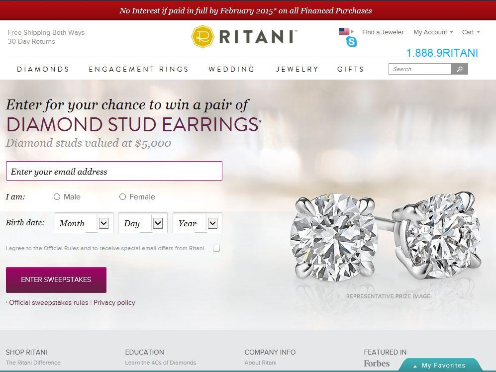 Ritani Win A Pair of Diamond Stud Earrings Sweepstakes