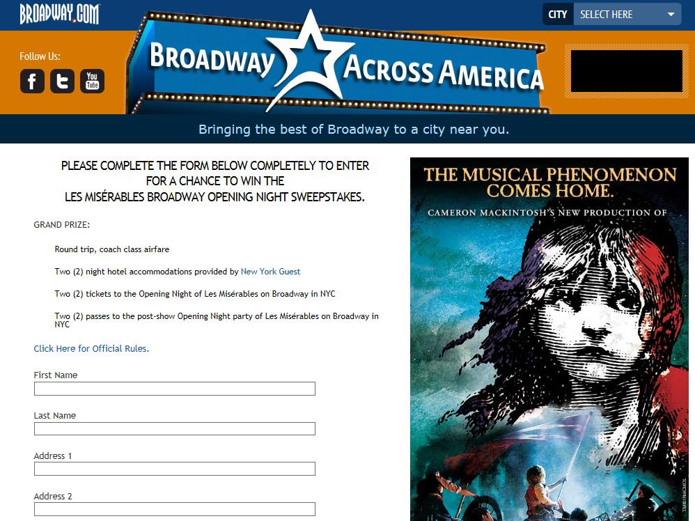 LES MISÉRABLES Opening Night Sweepstakes