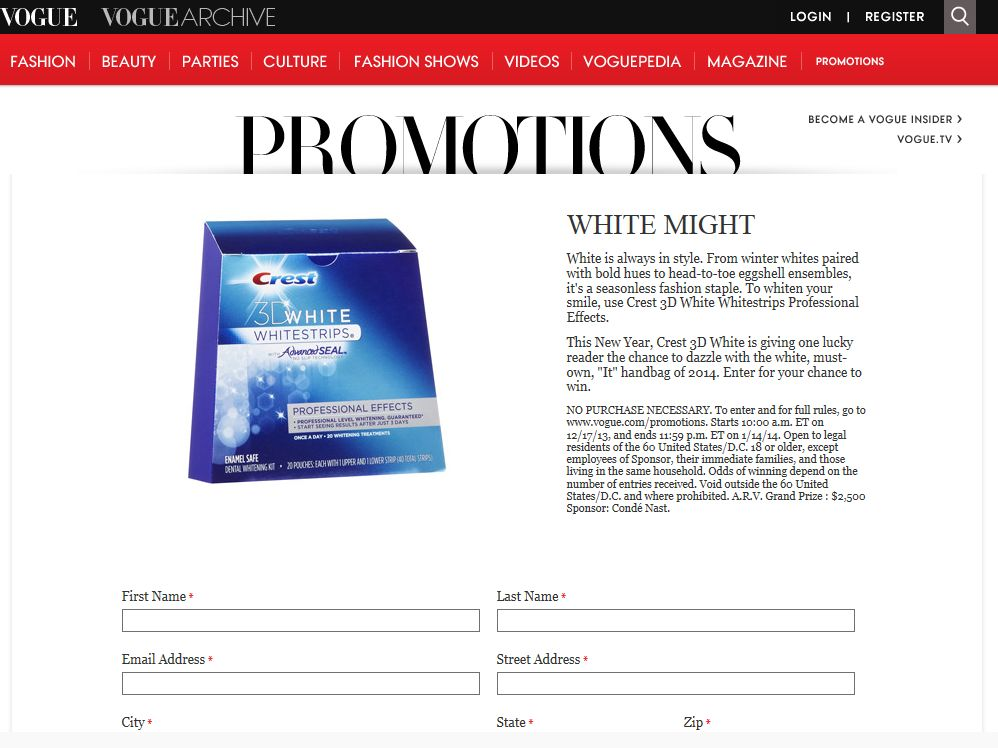 Winter White by Crest Sweepstakes