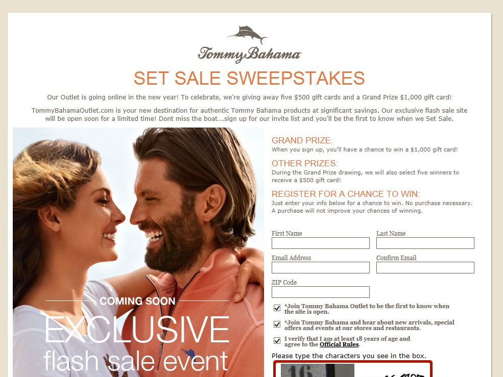 "Tommy Bahama ""Set Sale"" Sweepstakes"