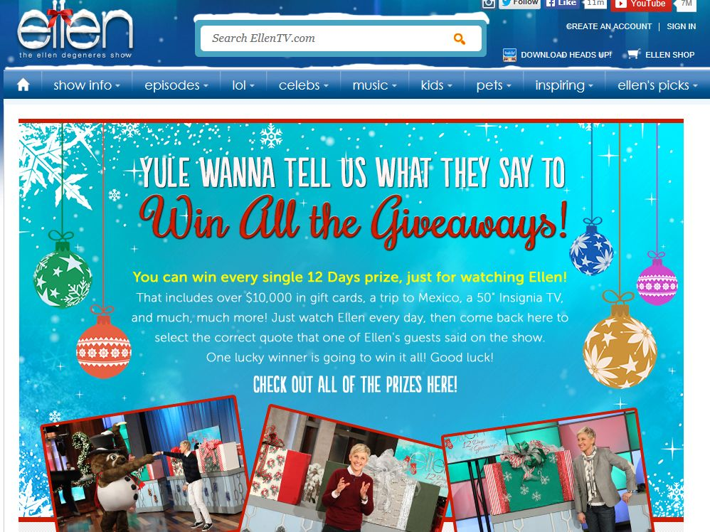 EllenTV Yule Wanna Tell Us What They Say to Win All The Giveaways! Contest