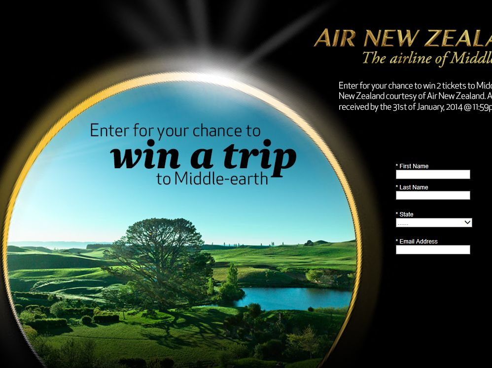 Air New Zealand WIN A TRIP TO Middle Earth Sweepstakes