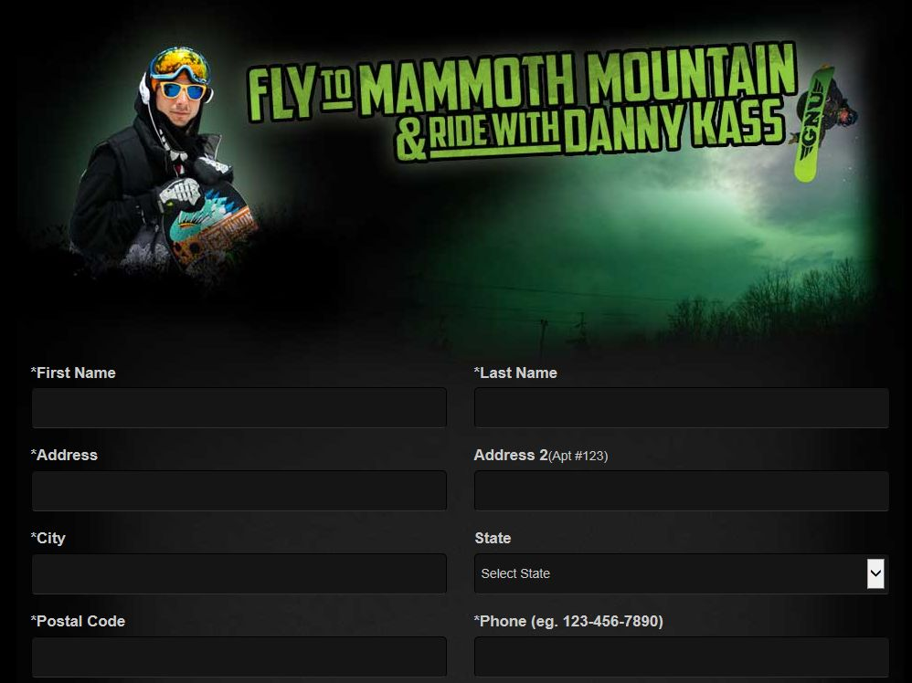 Monster Energy Danny Kass Experience at Mammoth Mountain Sweepstakes – Limited States