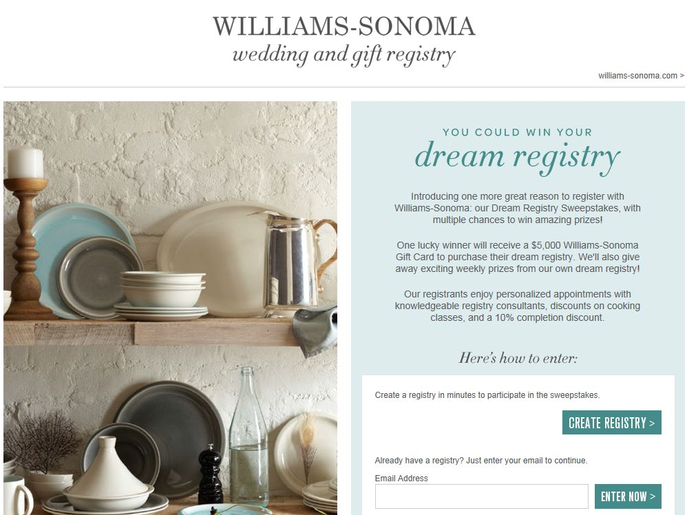 Williams-Sonoma Dream Registry Sweepstakes
