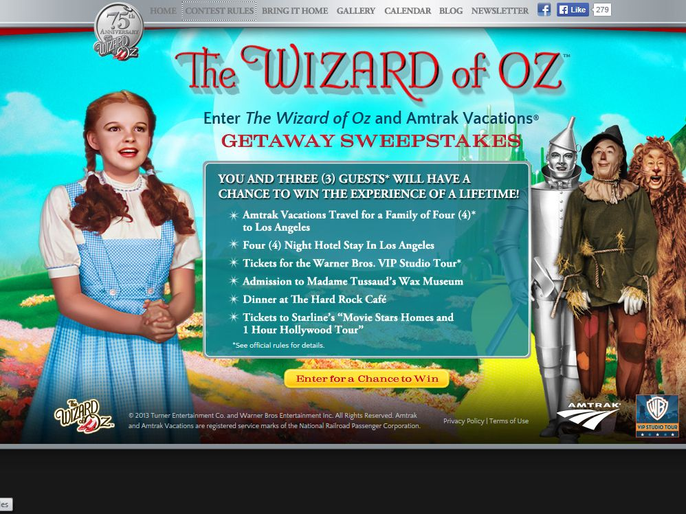 The Wizard of Oz & Amtrak Vacations Getaway Sweepstakes