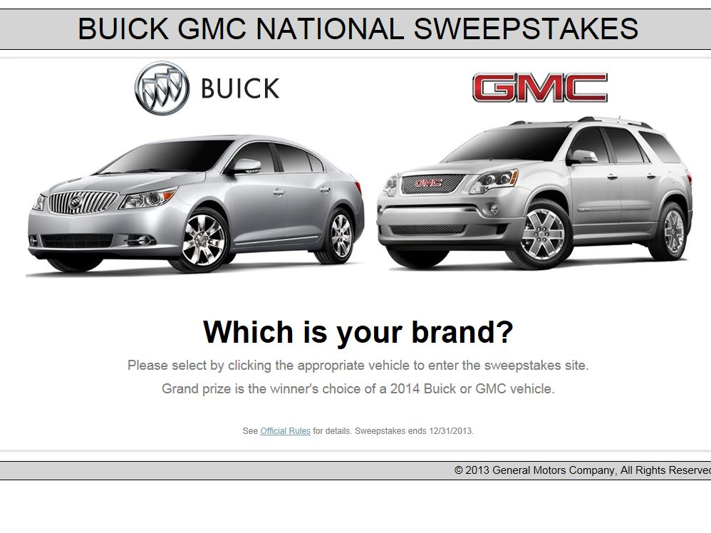 gmc national sweepstakes 2012 2013 buick gmc national sweepstakes 518