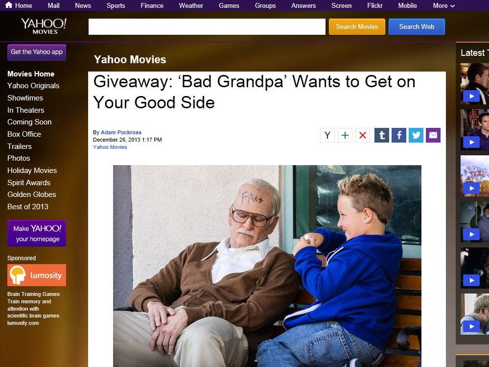 Yahoo! Movies Giveaway: 'Bad Grandpa' Sweepstakes