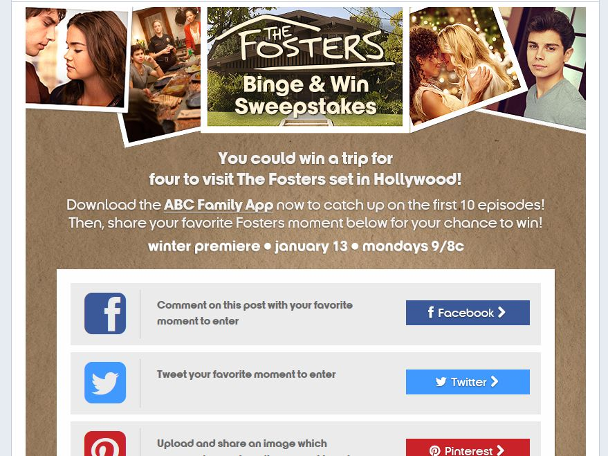 The Fosters Binge & Win Sweepstakes