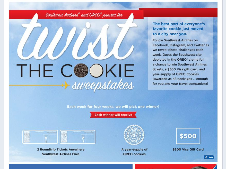 Southwest Airlines Twist The Cookie Sweepstakes