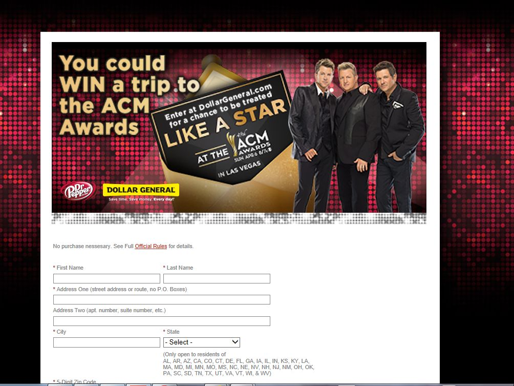 2014 Dr Pepper Academy of Country Music Awards Sweepstakes