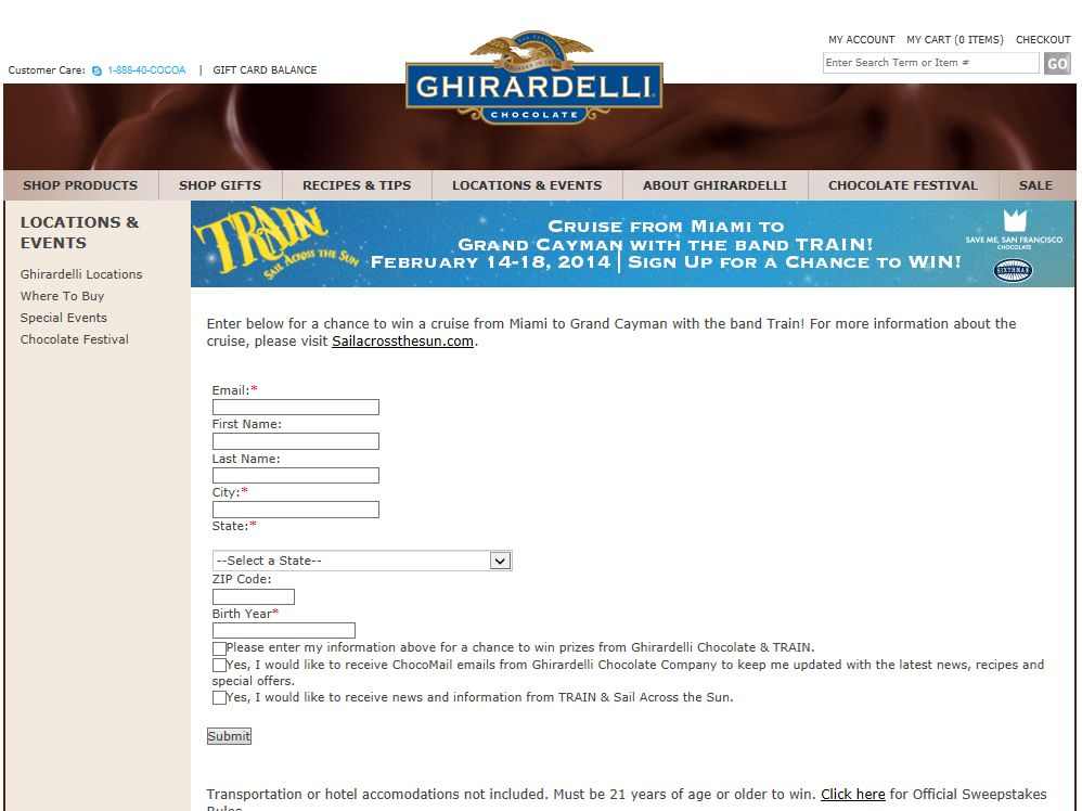 Ghirardelli Chocolate Company Sail Across the Sun Sweepstakes