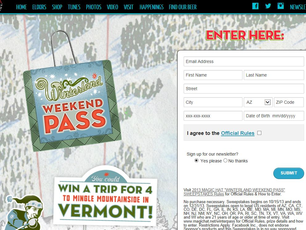 "2013 Magic Hat ""Winterland Weekend Pass"" Sweepstakes"