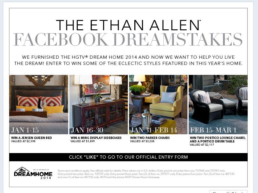Ethan Allen Facebook Dreamstakes