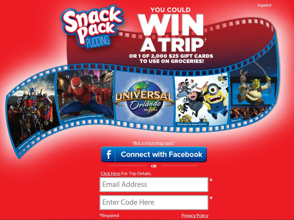 Snack Pack On Pack Instant Win and Sweepstakes