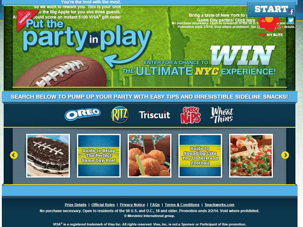 The Big Game 2014 Put the Party in Play Sweepstakes
