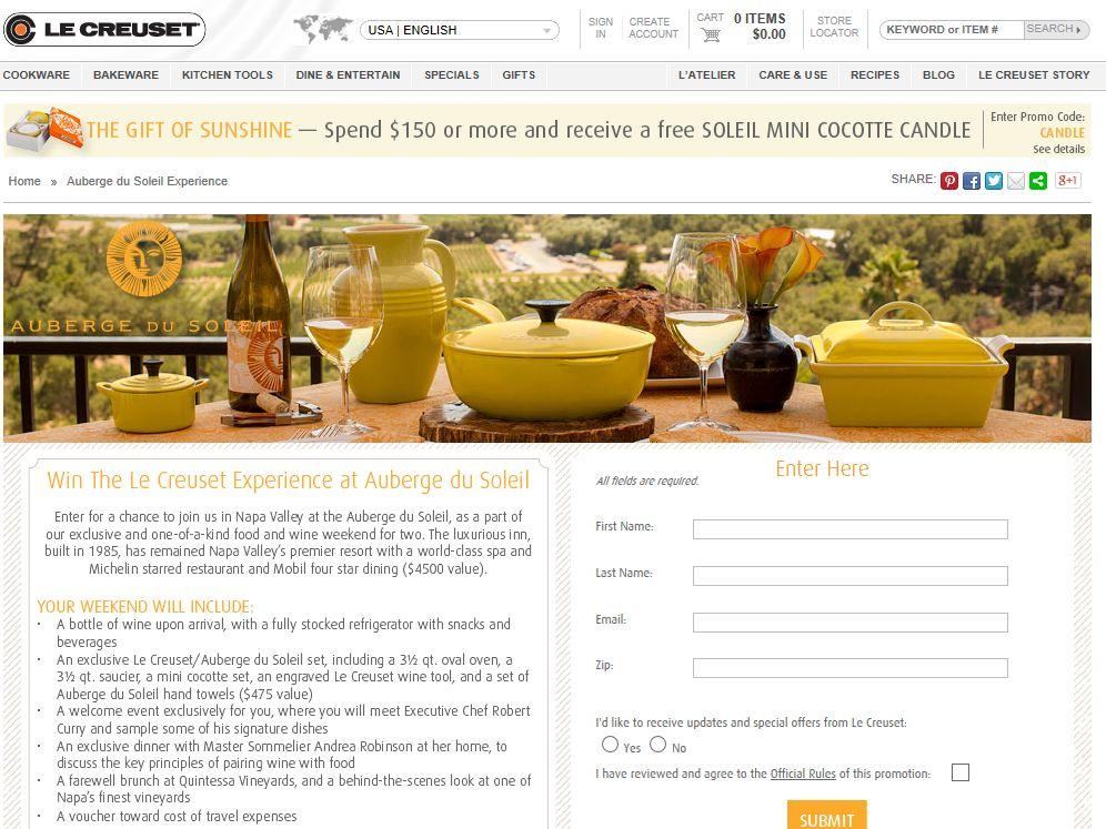 Le Creuset Auberge du Soleil Resort Weekend Online Sweepstakes