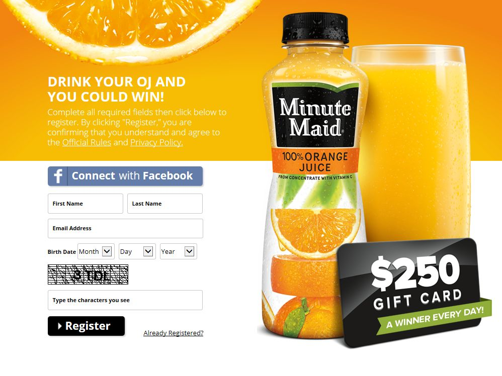 Minute Maid Drink Your OJ Instant Win Game