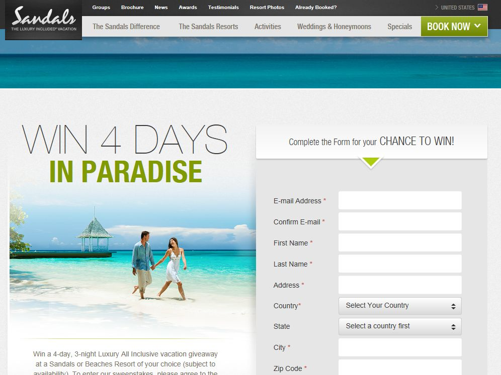 Sandals and Beaches Giveaway