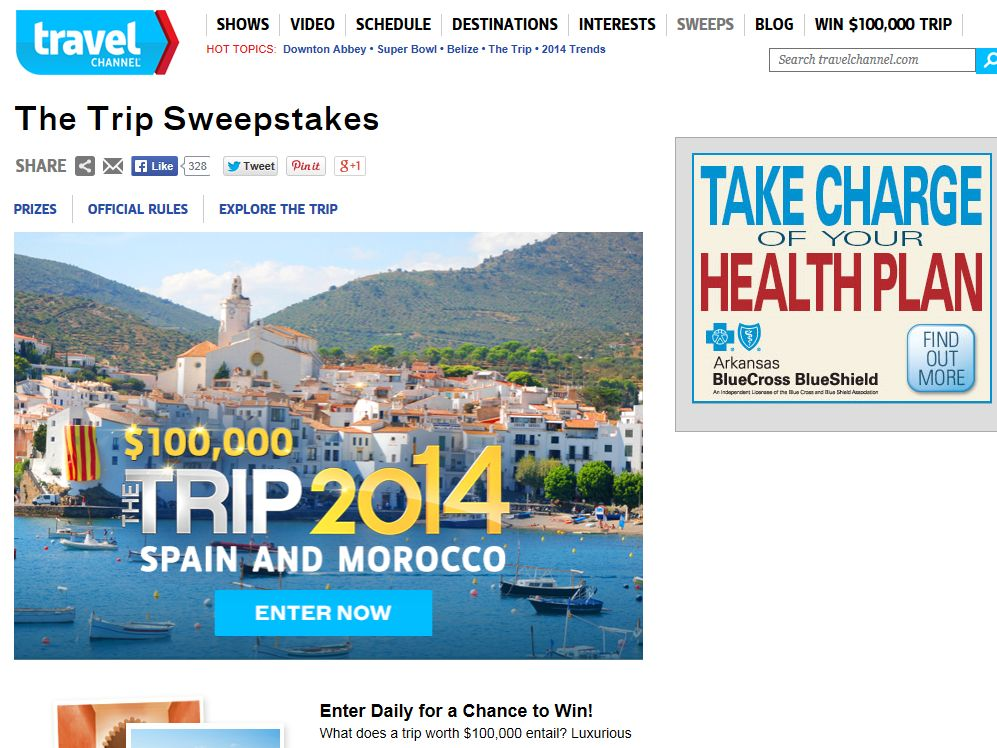 "Travel Channel's ""The Trip: 2014"" Sweepstakes"