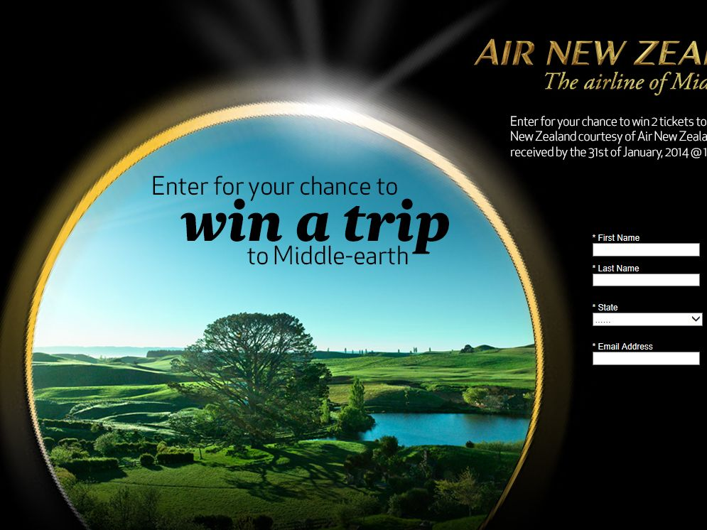 WIN A TRIP TO Middle Earth Sweepstakes