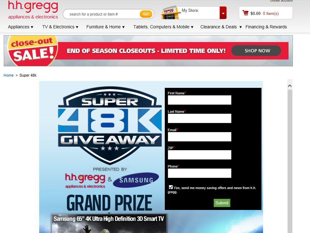 h.h. gregg and Samsung Super 48K Giveaway