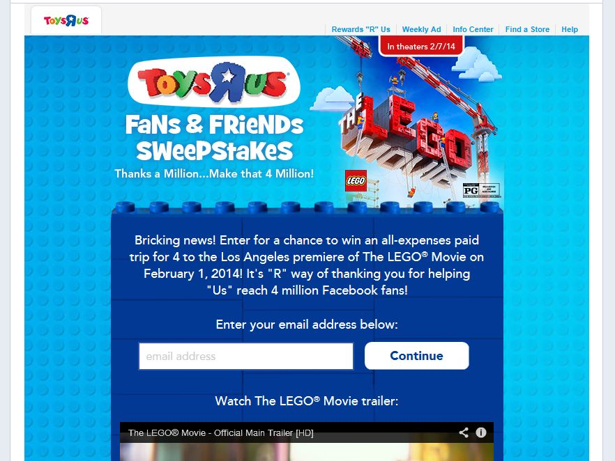 """Toys R Us """"R"""" 4 Million Fans Sweepstakes"""