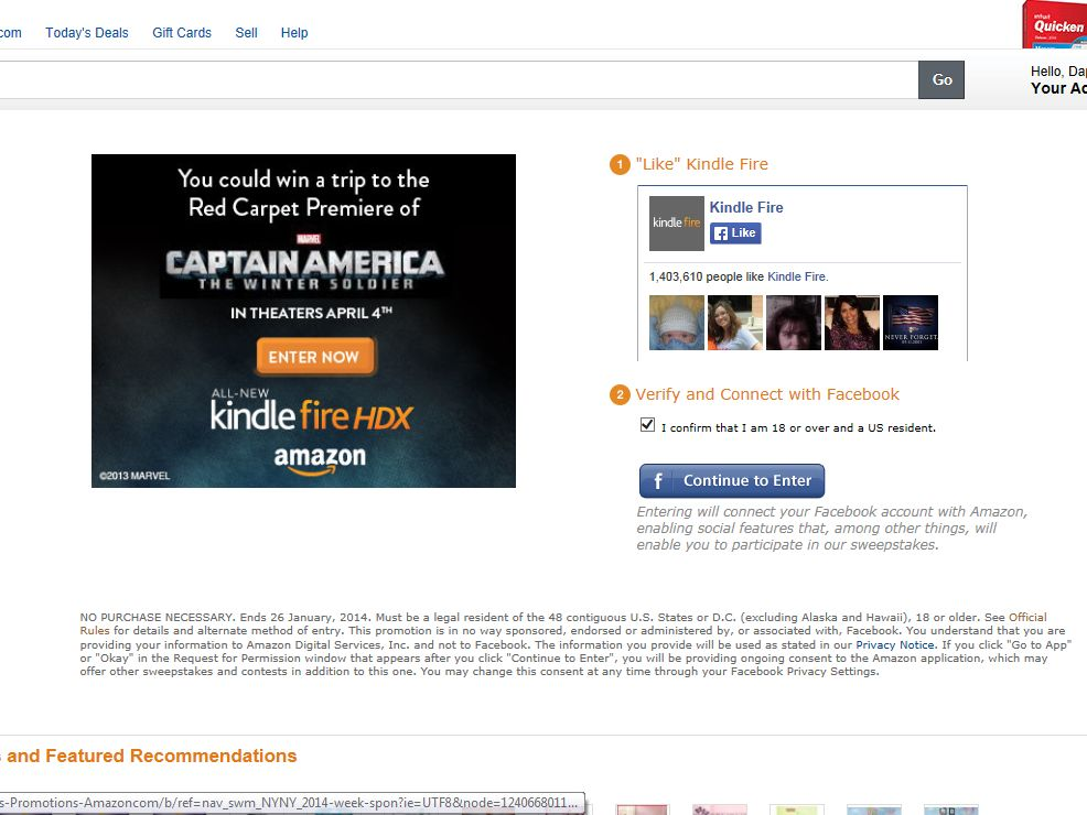 Kindle Fire HDX and Marvel's Captain America: The Winter Soldier Sweepstakes