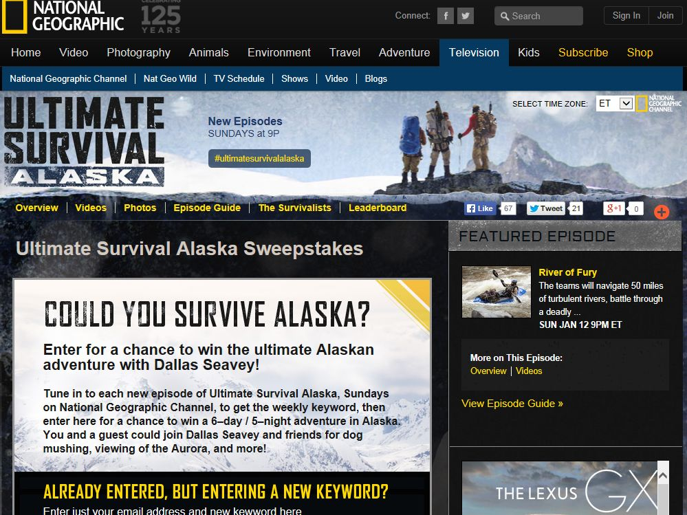 "National Geographic Channel's ""Ultimate Survival Alaska"" Sweepstakes"