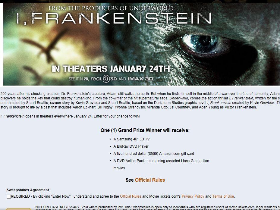 I, Frankenstein Sweepstakes