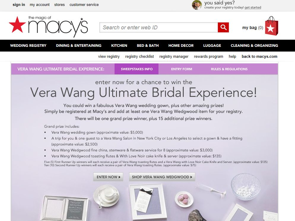 Vera Wang Ultimate Bridal Experience Sweepstakes