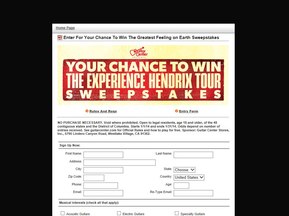 Guitar Center 2014 Experience Hendrix Tour Sweepstakes