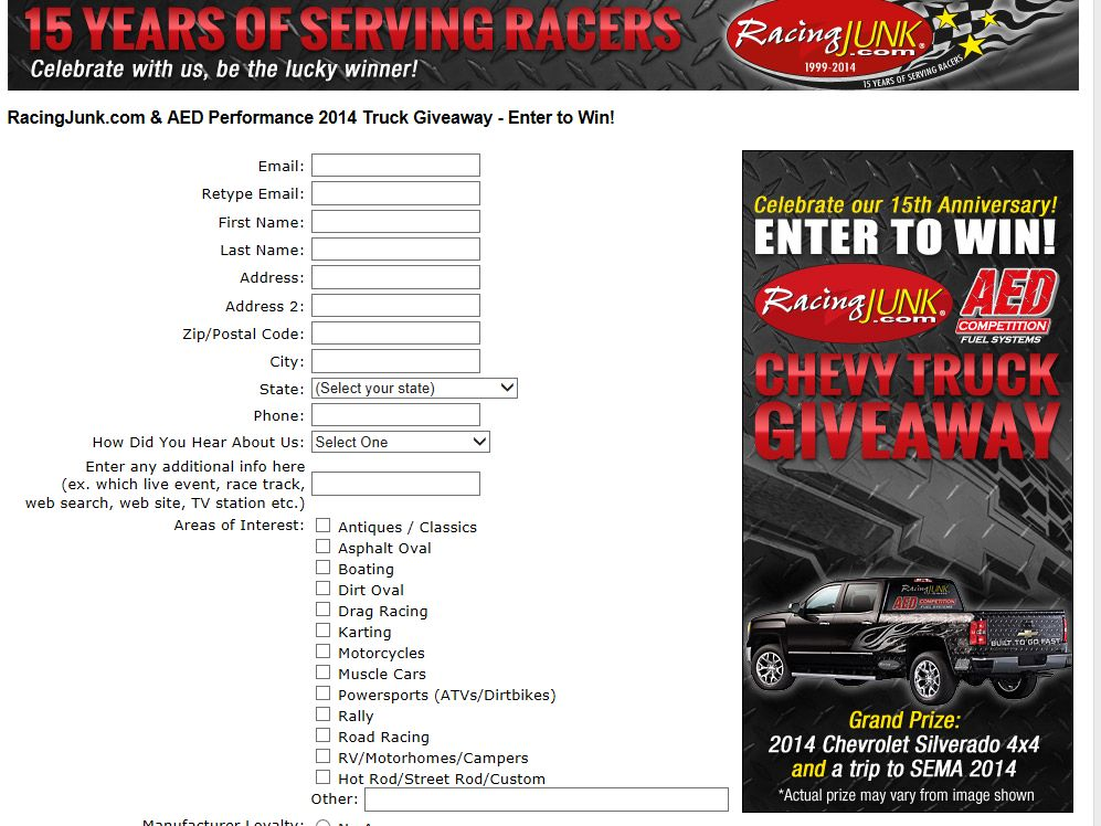 RacingJunk.com & AED Performance 2014 Truck Giveaway