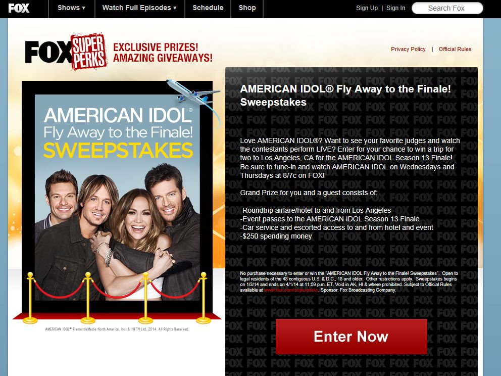 AMERICAN IDOL Fly Away to the Finale! Sweepstakes