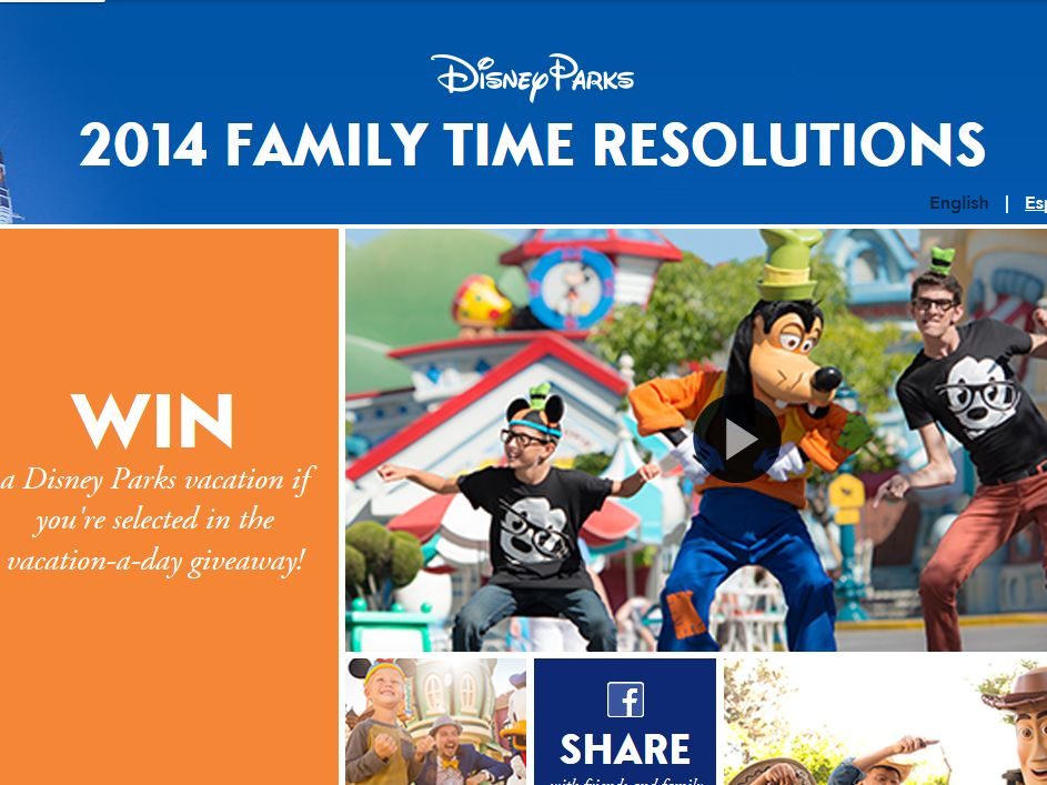 Disney Parks 2014 Family Time Resolutions Sweepstakes